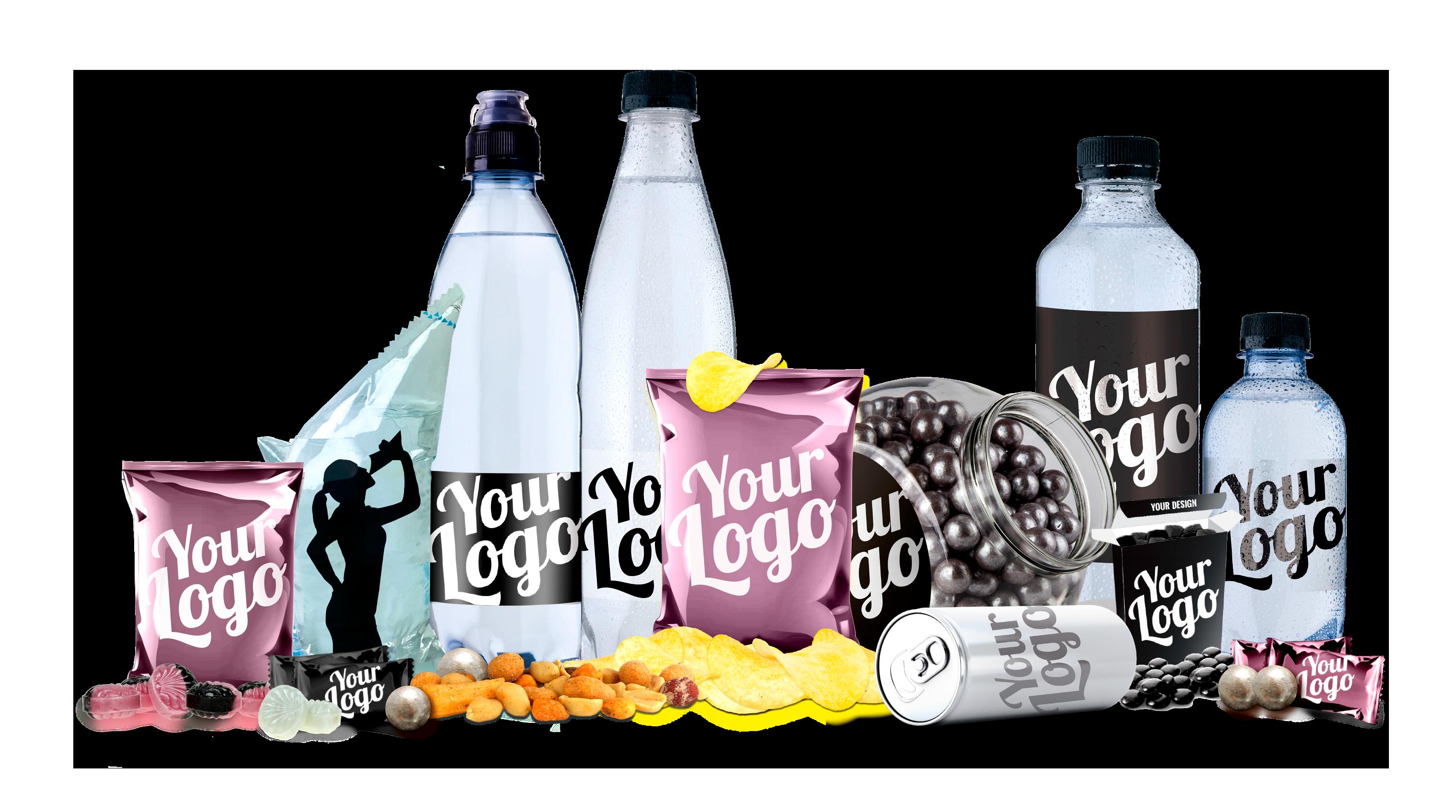 Reklamevand, energidrik og slik med logo - Private label på fødevarer